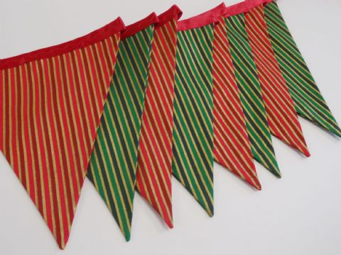 CHRISTMAS BUNTING - Red, Green & Gold Stripes -  255cm Length - 12 flags (double-sided)